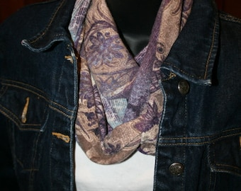 Floral Abstract Infinity Scarf  - Purple Navy Denim Blue Khaki Tan Brown Plum - Jersey - Angora - Circle Scarf - Cowl Scarf - Hippie - Retro