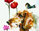 WIREHAIR DACHSHUND- Doxie-Doxey Watercolor dog print  Double Matted to 16x20 signed by the artist Carol RATAFIA
