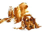 Irish Setter   Go Get Your Own  Damn Stick   Watercolors dog prints   Signed by the artist Carol Ratafia Double matted to 16x20
