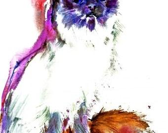BEARMAN CAT watercolors PRINTS Double matted to 16x20 signed by Carol Ratafia