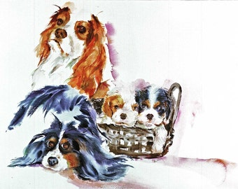KING CHARLES SPANIALS Watercolor dog print Signed by the artist Carol Ratafia double matted to 16x20
