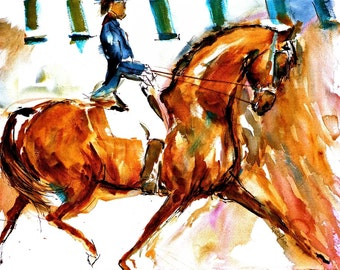 DRESSAGE Watercolors Horse prints DOUBLE MATTED to 16x20 Signed by the Artist Carol Ratafia