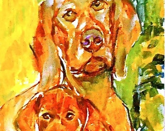 Vizsla  Watercolors dog prints  SIGNED  by the artist CAROL RATAFIA  Double matted to 16x20
