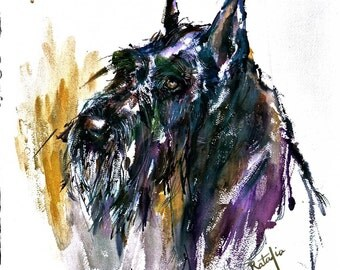 Giant Schnauzer. Watercolor dog print signed by the artist, Carol Ratafia. Double Matted to 16 X 20.