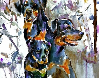 Rottweiler watercolor dog print signed by the Artist Carol Ratafia Double Matted to Fit a  22x28 Frame