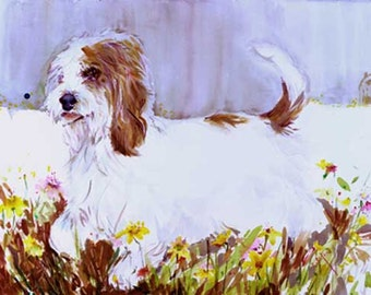 Petits Bassets Griffons Vendeens PBGV Watercolor dog prints SIGNED  by the Artist Carol Ratafia Double Matted to 16X20