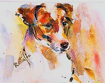Jack Russell or  Parson Russell Watercolors Dog Prints SIGNED by the artist Carol Ratafia Double  Matted to 16X20