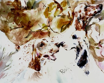 English Setters Watercolor dog prints SIGNED by the artist CAROL RATAFIA  Double Matted to 16x20