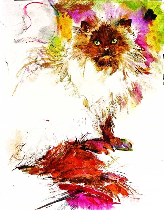 Cat Himalayan Cat Watercolor Print Double matted to 16x20 SIGNED by the artist CAROL RATAFIA