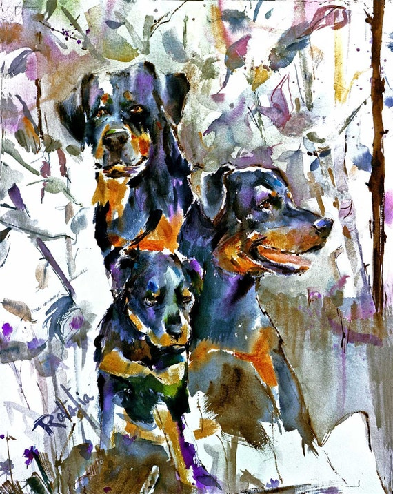 Rottweiler   Rotties Rottie  watercolor dog print SIGNED by the Artist Carol RATAFIA  DOUBLEMATTED to Fit a 16x20 Frame