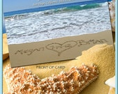 Save The Date Postcards-Beach Wedding-  Custom with your names written in the real sand.