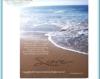 Love written in the sandy beach with I Corinthians 13  4-7 Bible Verse-Inspirational Wall Art Beach Photograph