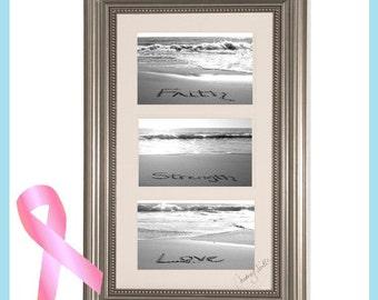 Beachy Housewarming Gift - Beautiful Framed Wall Art Faith, Love, Strength Written in the Real Beach Sand -Breast Cancer Awareness -Sand Art