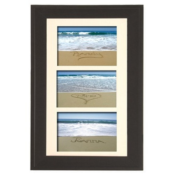 Unique Wedding Gift  Bride and Groom's Names written in sand with wedding date. Custom Framed Beach Photograph