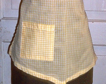 Nine Waitress Restaurant/Cafe Aprons in Sunny Yellow Gingham