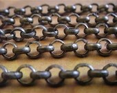 Antique Bronze Chain - Artemus Gordon - 5 Foot - Steampunk - Rustic - Antique Bronze Cross Chain