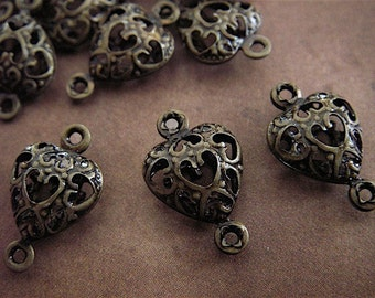 10 - Antique Bronze - Heart Links  (FBH)