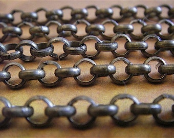 Jewelry supply - Rolo Chain - Artemus Gordon - 10 Foot - Steampunk - Rustic - Antique Bronze Cross Chain