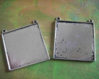 2 - Antique Silver - Blank Pendant Settings  (FSBPS)