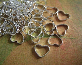30 - Silver - Heart Charm - Cutout - (SHC7MM)