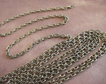 Antique Bronze Cross Chain - Virginia Woolf - 10 Foot - Steampunk - Rustic - Antique Bronze Cross Chain