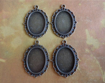 Antique Bronze Pendant Settings - 4 - Oval - Pendant Settings