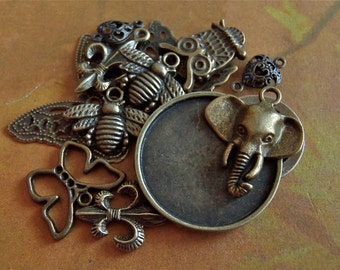 Sample pack of Antique Bronze charms and Pendant blanks - Steampunk jewelry sample pack