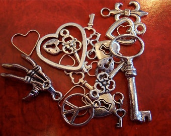 Sample pack of Antique Silver charms  - Steampunk jewelry sample pack