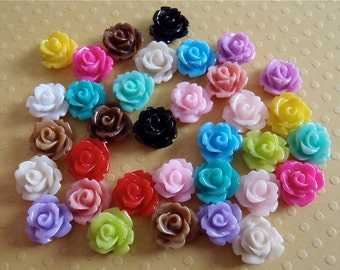 Cabachon flower Rose  - Mixed lot  Multi colors 10mm Cabochon - Color Mix - Resin flowers