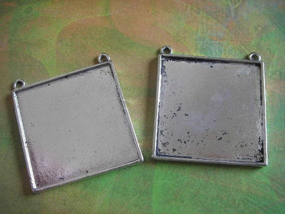 2 - Antique Silver - Blank Pendant Settings  (FSBPS)