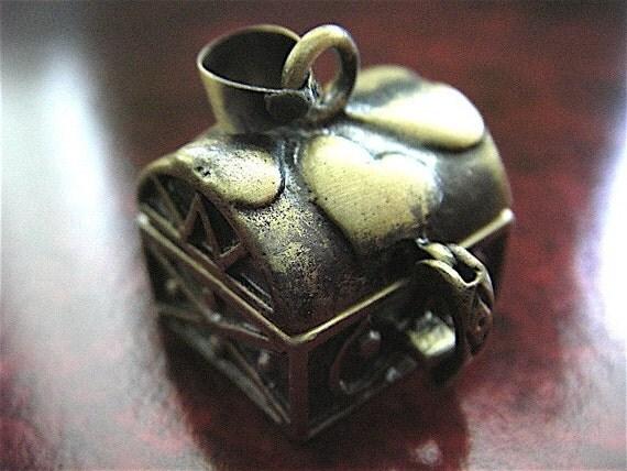 1 - Antique Bronze - Treasure Chest Locket Pendant Settings  (TCLPS)