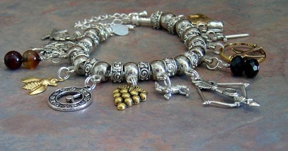 Hunger games mockingjay pandora style charm bracelet by ang549