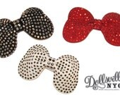 Studded Black Faux Leather Hair Bow- Pick Your Color White or Black