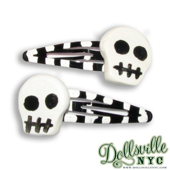 Skull Barrette Hair Clips-Black & White Stripes Goth, Psychobilly, Creepy Cute