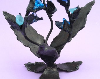 Three-Blue metal flowered sculpture