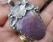 Purple Jadeite and Silver Pendant Necklace Handmade