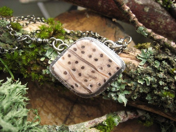 Silver and  Petrified Palm Wood Necklace