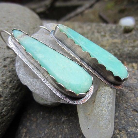 Australian Chrysoprase and Silver Dangle Earrings