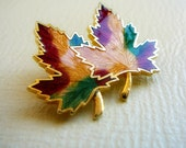 Autumn Red Yellow Green Two Maple Leaves Vintage Brooch Pin