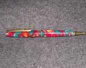 Gold Red Green Acrylic Hand Turned Ball Point Pen Cross