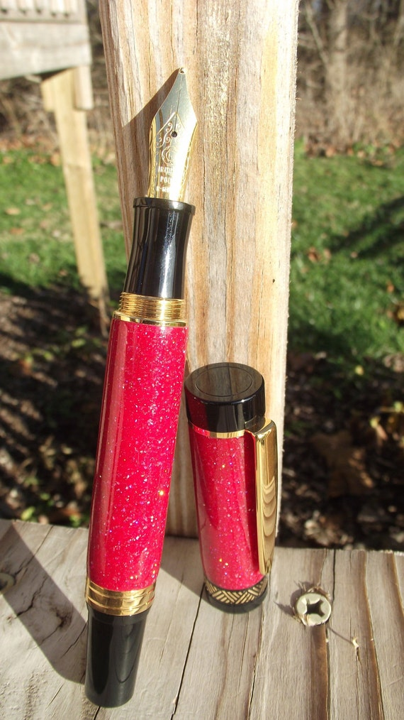 Red Sparkle Acrylic El Grande Fountain Pen Titanium Gold