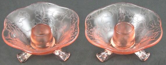 Pair of Vintage Fostoria Oak Leaf Brocade Pink Candlesticks  Reserved for Richard