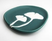 ready to ship - small plate - ginkgo in blue-green