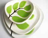 set of 3 ceramic dishes - leaves in chartreuse green - ceramic and pottery - hopejohnson