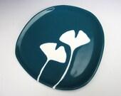 ceramic plate - ginkgo leaves in dark teal blue - kitchen decor, dinnerware