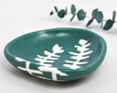 small ceramic bowl - eucalyptus in dark blue green