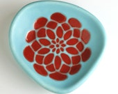 cute ring dish or serving bowl - dahlia flower in crimson red and robins egg blue