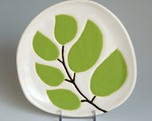 handmade dessert or appetizer plate - leaves on a twig in chartreuse green