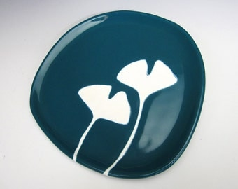 ceramic plate - ginkgo leaves in dark teal blue - kitchen decor, dinnerware