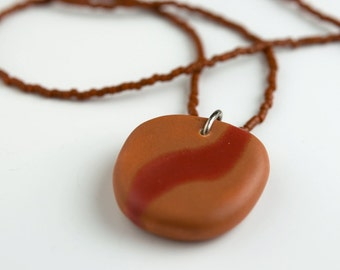 ceramic pendant and beaded necklace - curve in burnt orange and red